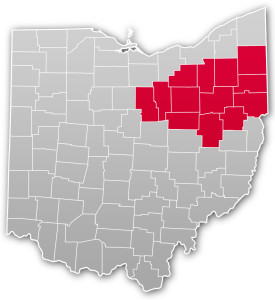 Akron Hub highlighted on a map of Ohio
