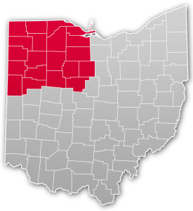 Northwest Hub on map of Ohio