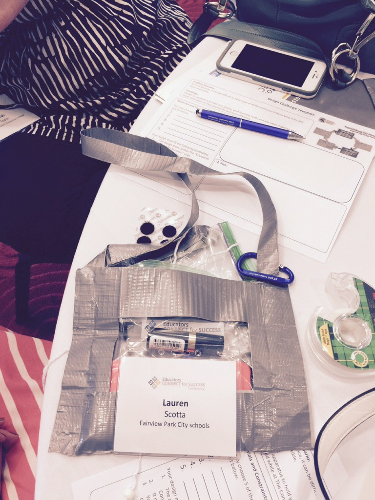 At the Battelle Education session, attendees learned about design challenges by completing one
