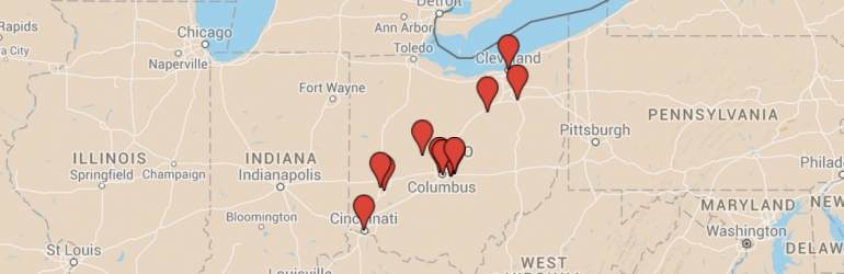 Image of the Ohio STEM schools on a map