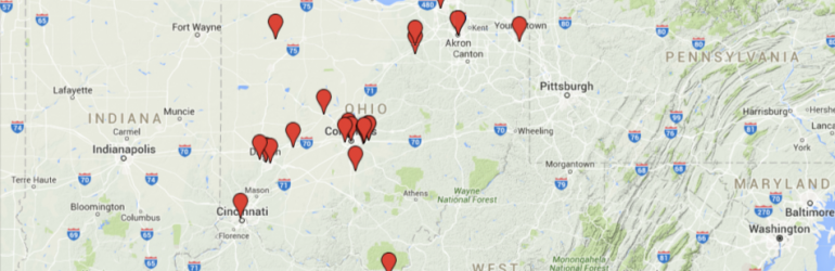 Image of the STEM schools on a map