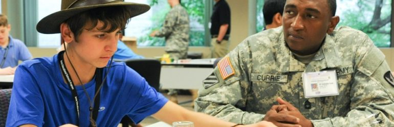 Header image of student working with the Army