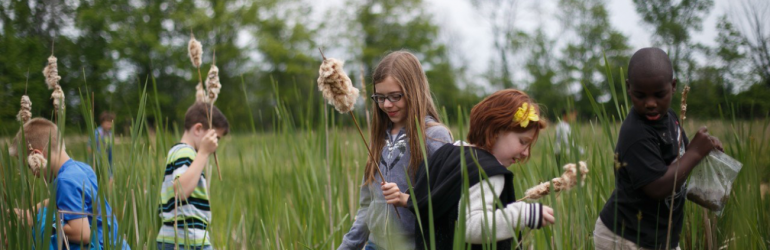 Header image of students learning in nature